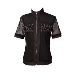 Black Net Short Sleeves Gothic Outfit For Men T010086