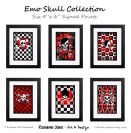 Emo Skull Collection Signed Prints Roseanne Jones