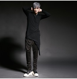 New Arrival Round Long Sleeved T Shirt Men's Curved Top Longshirt Long Tee
