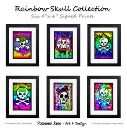 Rainbo Skull Collection Signed Prints Roseanne Jones