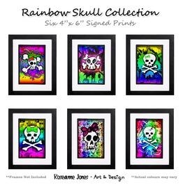 Rainbo Skull Collection Signed Prints Roseanne Jones