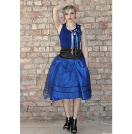 Pretty Disturbia Bright Blue/Black Prom Full 50's Vintage Punk Midi Skirt