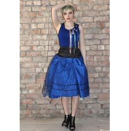 Pretty Disturbia Bright Blue/Black Prom Full 50's Vintage Punk Midi Skirt