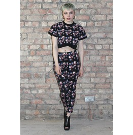 Pretty Disturbia Vintage Floral Print Casual Punk Grunge Gothic Crop Top