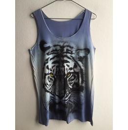 Tiger Animal Wave Punk Pop Rock Tie Dye Color Tank Top