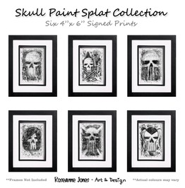 Skull Paint Splat Collection Prints Roseanne Jones