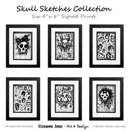 Skull Sketches Collection Signed Prints Roseanne Jones