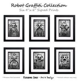 Robot Graffiti Collection Signed Prints Roseanne Jones