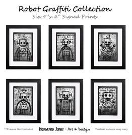 Robot Graffiti Collection Signed Prints Roseanne Jones