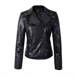 86c2aeac20f99 Punk Rock Women s Soft Faux Leather Rivet Motorcycle Jacket