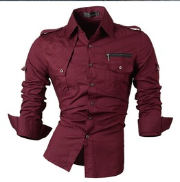 Slim Fit Military Button Down Long Sleep Men's Top