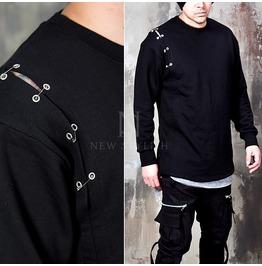 Safety Pin Eyelet Black Sweatshirts 648