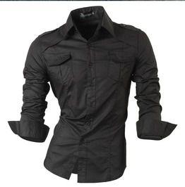 Slim fit turn down collar casual long sleeve shirt shirts