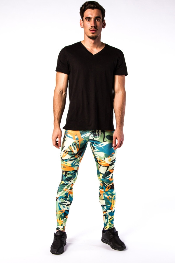 Meggings Multi Color Graffiti Men's Leggings
