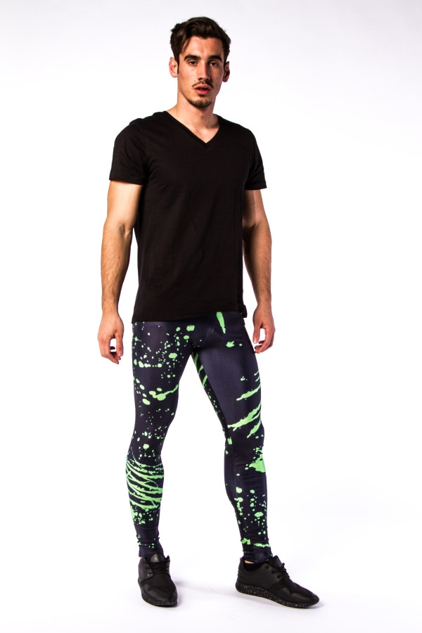 Meggings Black And Electric Green Spatter Men's Leggings
