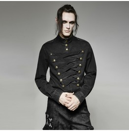 Mens Black Gothic Punk Military Long Sleeved Button Up Shirt Cheap Shipping
