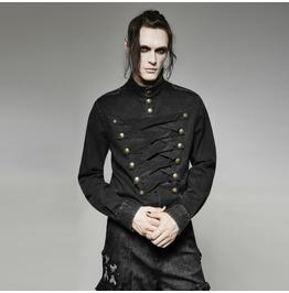 Mens Black Gothic Punk Military Long Sleeved Button Up Shirt Cheap Shipping