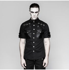 Mens Black Gothic Fetish Buckle Punk Short Sleeve Snap Shirt Cheap Shipping