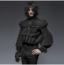 Mens Black Romantic Gothic Frilly Victorian Vampire Shirt Cheap Shipping