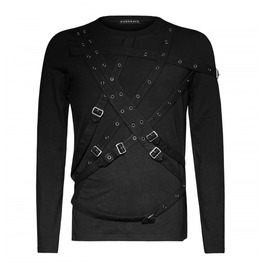 Mens Black Goth Long Sleeve Punk Bondage Fetish Buckle Shirt Free Shipping