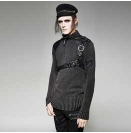 Mens Black Gothic Punk Sweater Fetish Pleather Strap Shirt Free Shipping