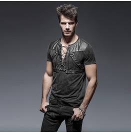 Mens Charcoal Gothic Punk Tshirt Fetish Pleather Strap Shirt Free Shipping