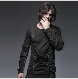 Mens Black Gothic Punk Long Sleeved Bondage Shirt Up To 4 Xl Cheap Shipping