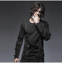Mens Black Gothic Punk Long Sleeved Bondage Shirt Up To 4 Xl Cheap Shipping