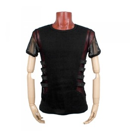 Mens Black Gothic Punk Fishnet Tshirt Fetish Mesh Shirt Free Shipping