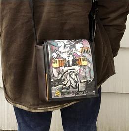 Mini, Traveling Print, Benga Rabbit, Brown Vegan Leather, Messenger Bag