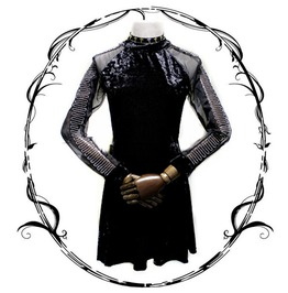 Fashion Gothic Black Dress Long Sleeve Velvet Women Dress