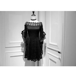New Arrival Women Summer Black Lace Off Shoulder Dresses