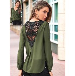 Lace Women Shirt Long Sleeve V Neck