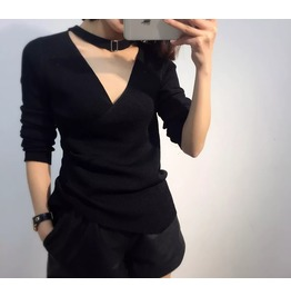 Korean Spring Fashion Women Halter Long Sleeve Slim V Neck Sweater
