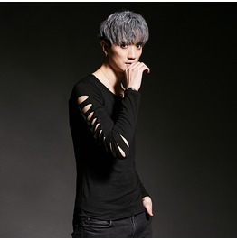 Punk Gothic Rock Men Hollow Out Long Sleeved Tee Shirts