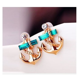 Fashion Rhinestone Anchor Stud Earrings