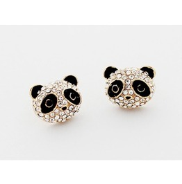 Fashion Austrian Diamond Lovely Panda Stud Earrings