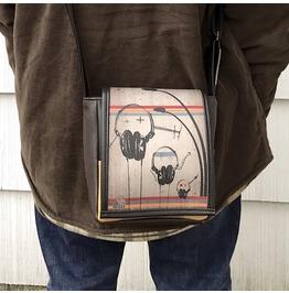 Mini, Headphones Print, Benga Rabbit, Brown Vegan Leather, Messenger Bag