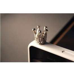 Fashion Silver Crystal Crown Iphone 4 4s 5 Cell Plug