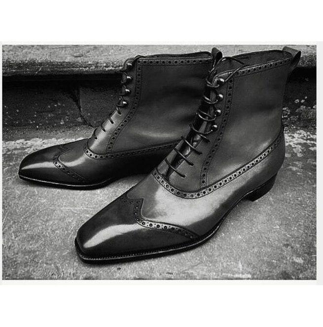 Handmade Men Fashion Black Color Ankle
