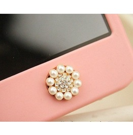 Crystal Circle Pearl Home Button Sticker I Phone