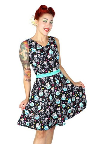 Cat Print Day Of The Dead Retro Style Skater Dress