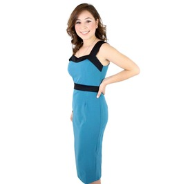 Pinup Style Wiggle Dress In Army Green Or Teal