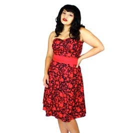 Black And Red Psychobilly Dress. Retro Strapless Style With Blood Splatter