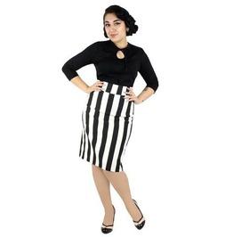 Black And White Stripe Retro Inspired Pencil Skirt
