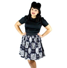 Black And White Psychobilly Skirt With Classic Monster Print
