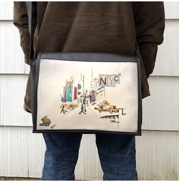 Student, Nyc Print, Benga Rabbit, Black Vegan Leather Messenger Bag