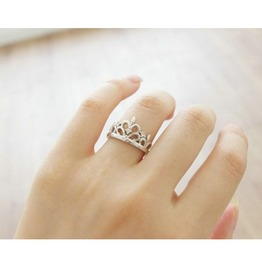 Fashion Crown18 K White Gold Ring