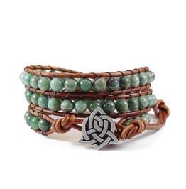 Leather Wrap Bracelet African Jade Gemstones Celtic Knot