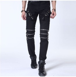 Black/White Men's Casual Zipper Slim Cotton Buckle Jeans Pants